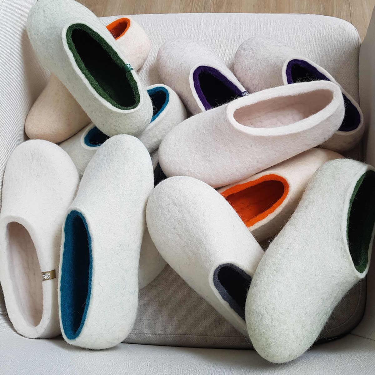 wooppers ARIA collection of white slippers