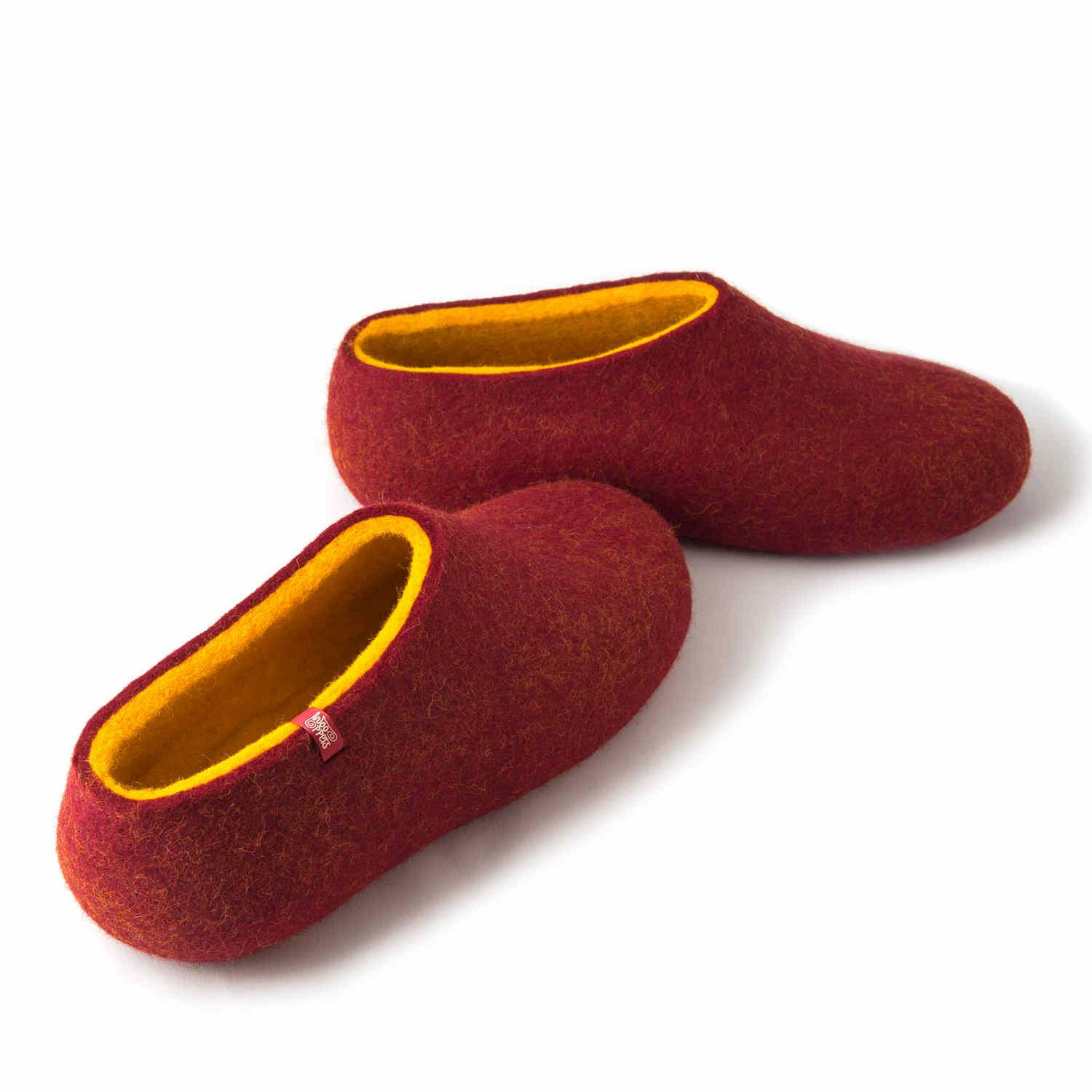98a66b774f086 Wooppers felt slippers DUAL RED yellow