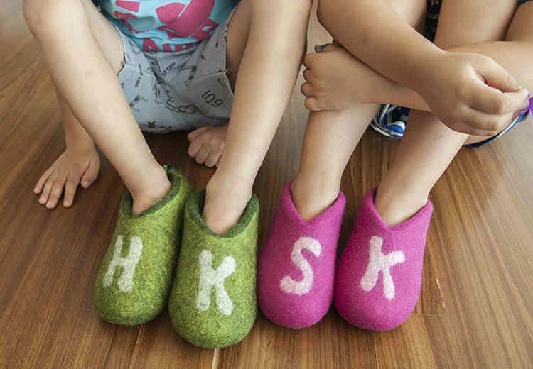 monogrammed slippers for kids green and pink by Wooppers wool slippers