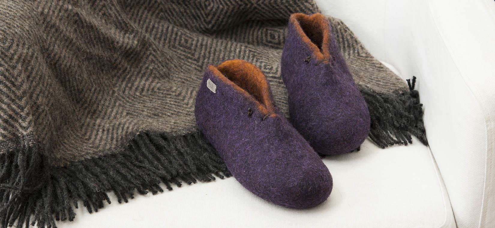 BOOTIES wooppers slippers amethyst with rusty orange