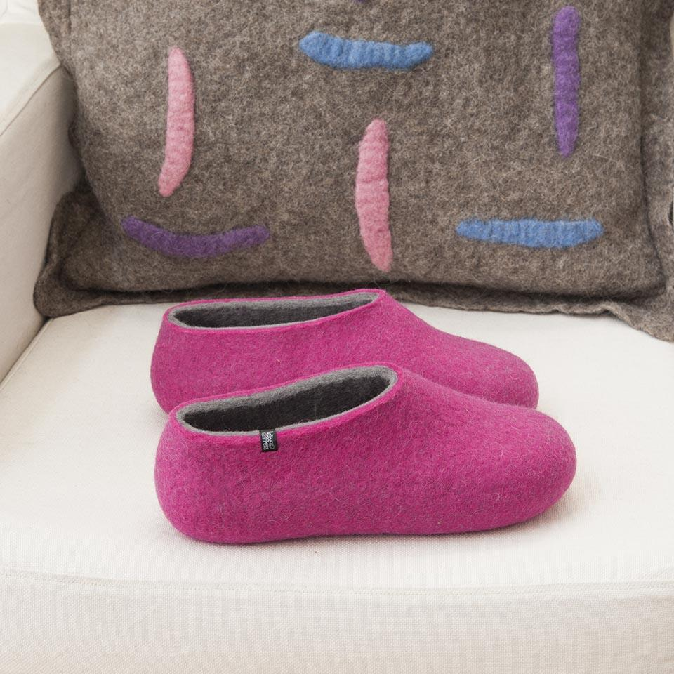 wooppers slippers DUAL with fuchsia and grey