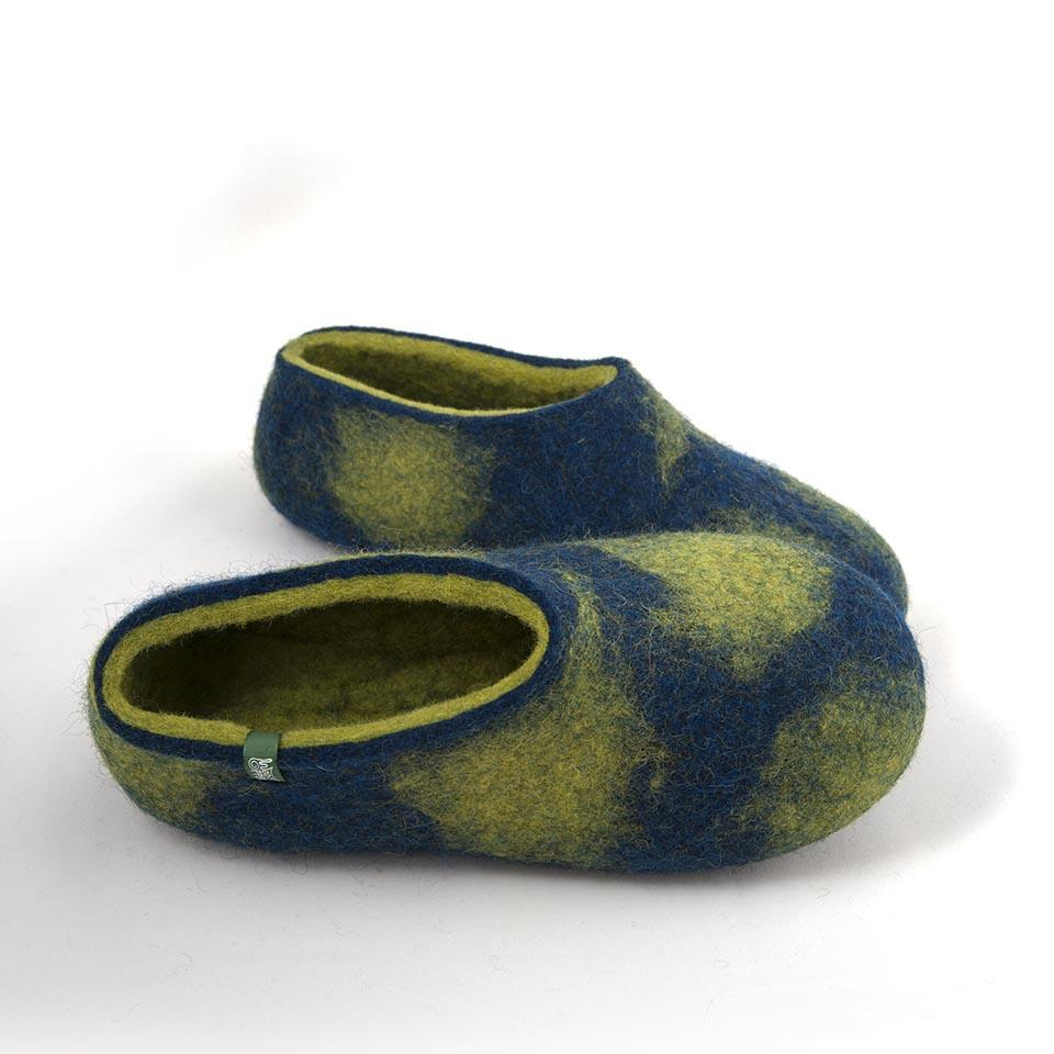 wooppers slippers with aqua blue and fresh green