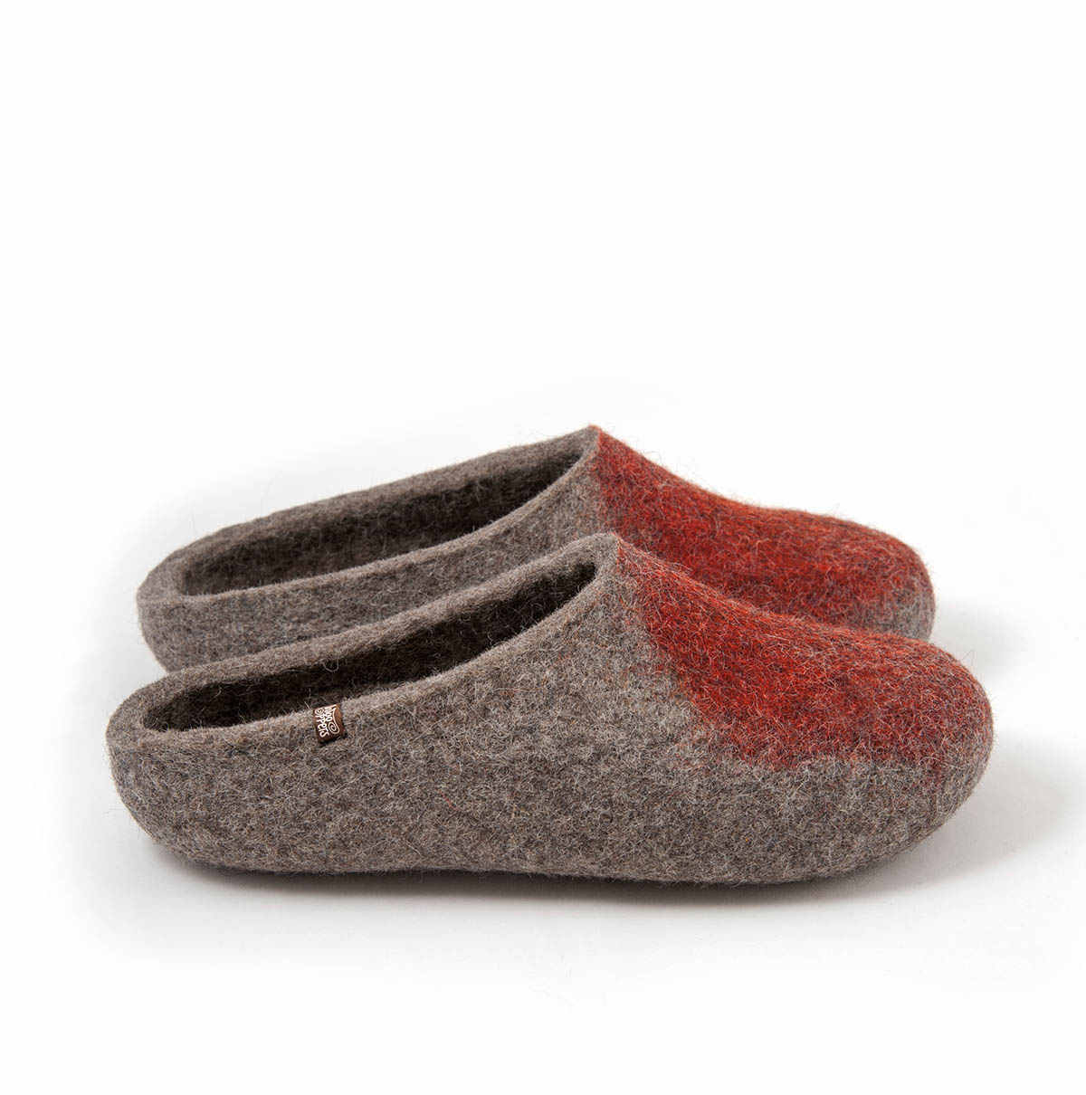 "wool Mule slippers ""SOLO"" burnt orange"