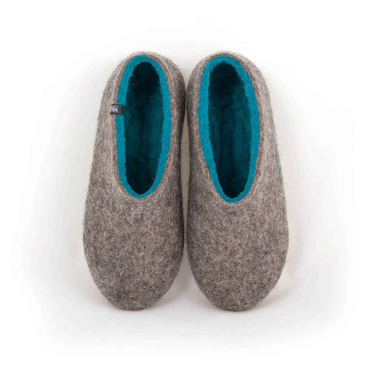 Womens felt slippers DUAL NATURAL gray blue azure