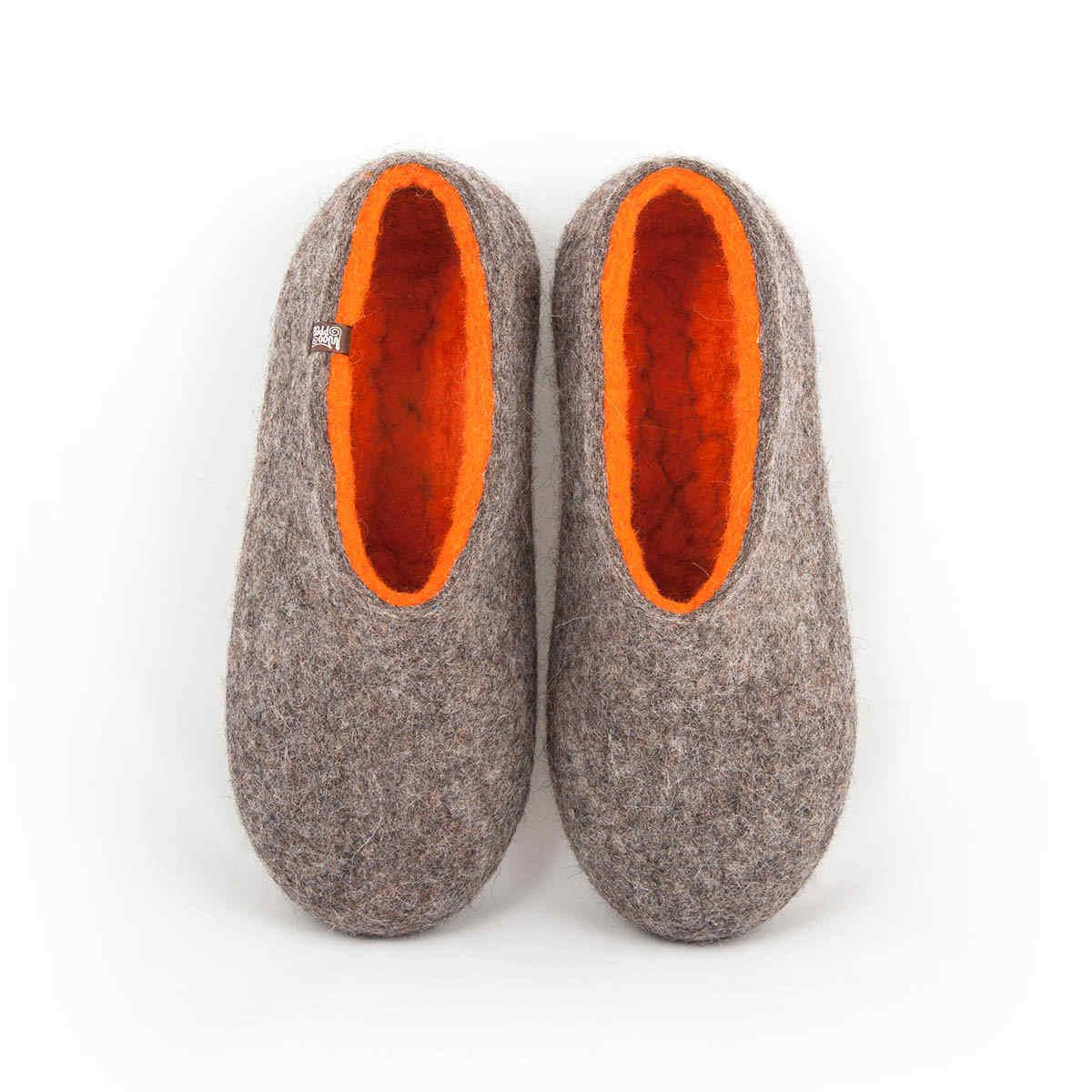 Boiled wool slippers DUAL NATURAL gray orange