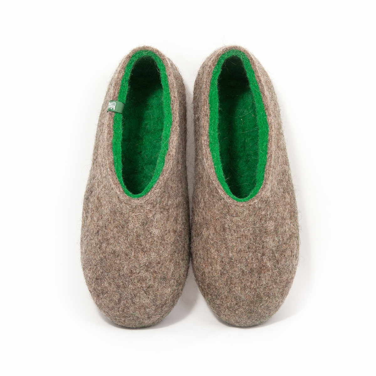Winter slippers DUAL NATURAL gray green