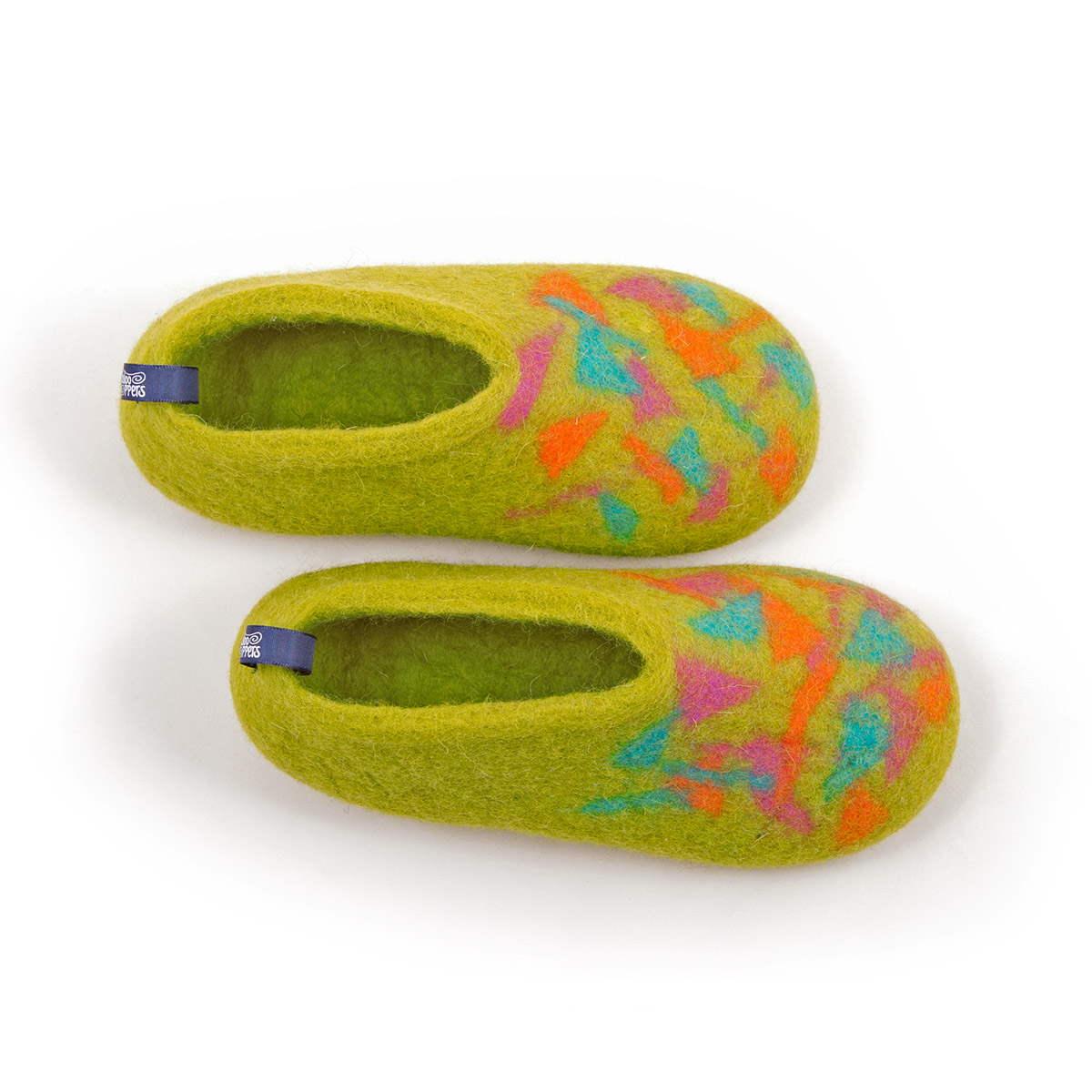 wool kids slippers CONFETTI BITS lime
